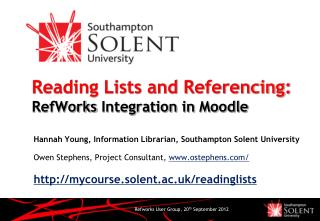 Reading Lists and Referencing: RefWorks  Integration in  Moodle