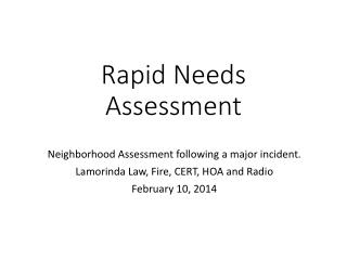 Rapid Needs Assessment