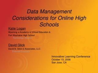 Data Management Considerations for Online High Schools