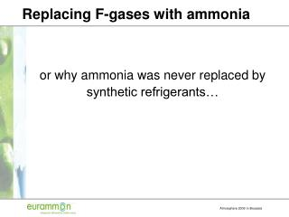 Replacing F-gases with ammonia