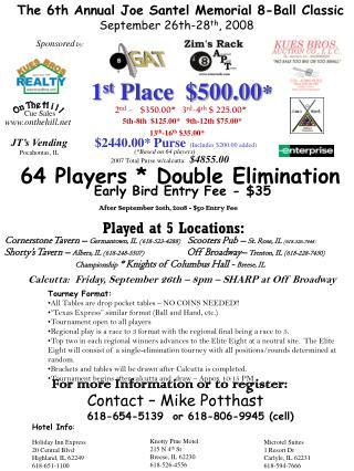 The 6th Annual Joe Santel Memorial 8-Ball Classic