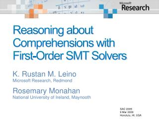 Reasoning about Comprehensions with First-Order SMT Solvers
