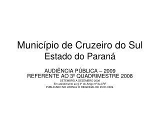 Município de Cruzeiro do Sul   Estado do Paraná