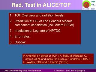 Rad. Test in ALICE/TOF