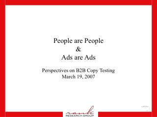 People are People & Ads are Ads