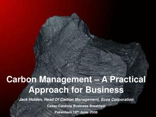 Carbon Management � A Practical Approach for Business