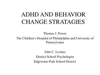 ADHD AND BEHAVIOR CHANGE STRATAGIES