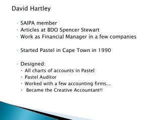 David Hartley SAIPA member Articles at BDO Spencer Stewart