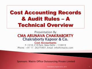 Cost Accounting Records & Audit Rules – A Technical Overview