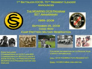 1 st  Battalion (OCS), 70 th  Regiment (Leader) Announces The MDARNG OCS Program