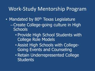 Work-Study Mentorship Program