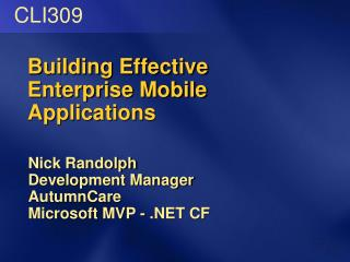 Building Effective Enterprise Mobile Applications