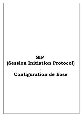SIP  Session Initiation Protocol - Configuration de Base
