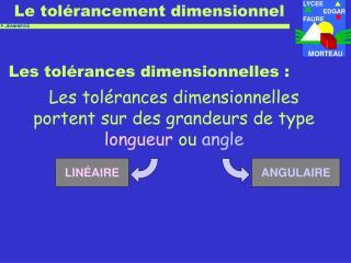 Les tol�rances dimensionnelles :