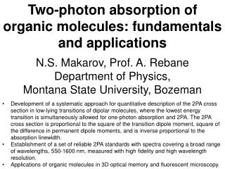 Two-photon absorption of organic molecules: fundamentals and applications