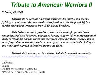 Tribute to American Warriors II