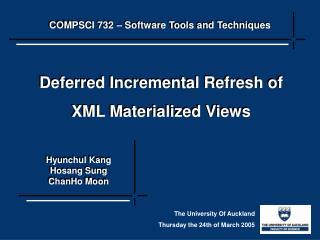 COMPSCI 732 – Software Tools and Techniques