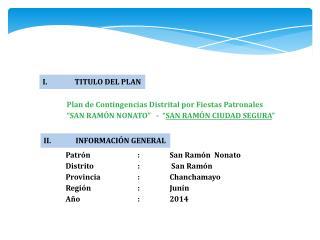 Plan de Contingencias Distrital por Fiestas Patronales