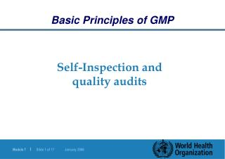 Self-Inspection and quality audits