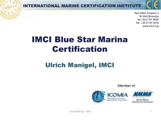 IMCI Blue Star Marina Certification Ulrich Manigel, IMCI