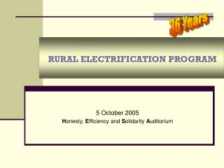 RURAL ELECTRIFICATION PROGRAM