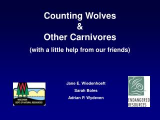Counting Wolves  &  Other Carnivores (with a little help from our friends)