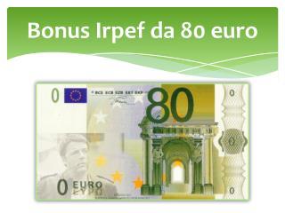 Bonus Irpef da 80 euro