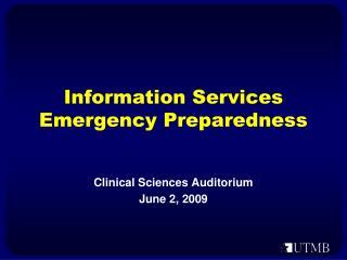 Information Services Emergency Preparedness