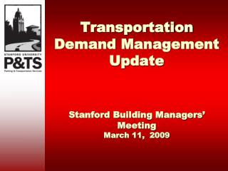 Transportation Demand Management Update