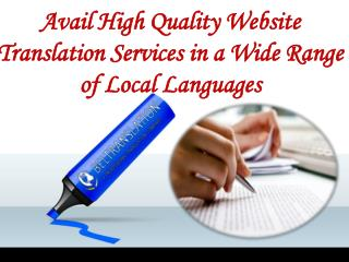 Avail High Quality Website Translation Services