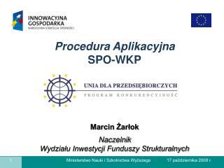 Marcin Żarłok Naczelnik Wydziału Inwestycji Funduszy Strukturalnych