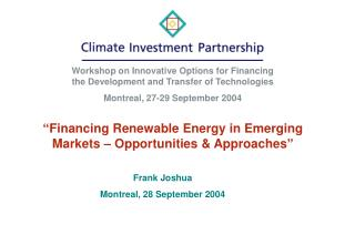 """Financing Renewable Energy in Emerging Markets – Opportunities & Approaches"""