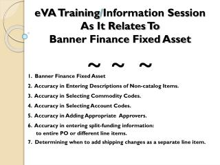 eVA Training / Information Session As It Relates To Banner Finance Fixed Asset