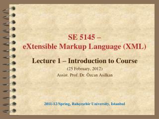 SE 5145  –  eX tensible Markup Language  (XML)