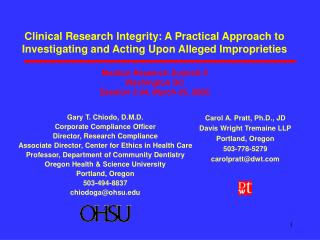 Clinical Research Integrity: A Practical Approach to Investigating and Acting Upon Alleged Improprieties  Medical Resear