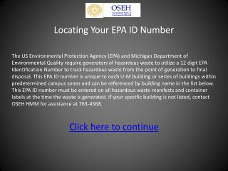 Locating Your EPA ID Number