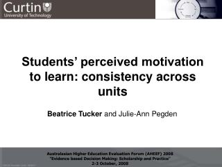 Students' perceived motivation to learn : consistency across units