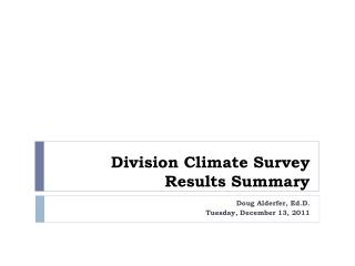 Division Climate Survey Results Summary