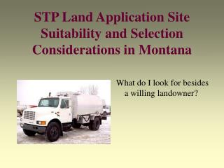 STP Land Application Site Suitability and Selection Considerations in Montana