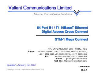 64 Port E1 / T1 10BaseT Ethernet Digital Access Cross Connect  STM-1 Mega Connect
