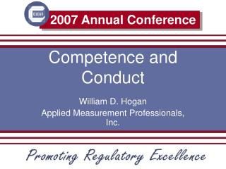 Competence and Conduct