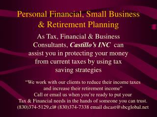 Personal Financial, Small Business & Retirement Planning