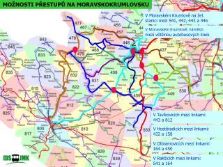 V Moravském Krumlově na žel.  stanici mezi S41, 442, 443 a 446