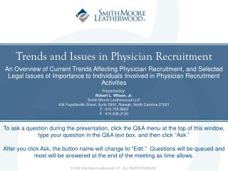 Trends and Issues in Physician Recruitment