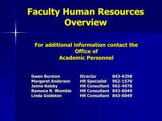 Faculty Human Resources Overview