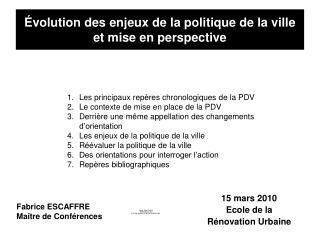 volution des enjeux de la politique de la ville et mise en perspective