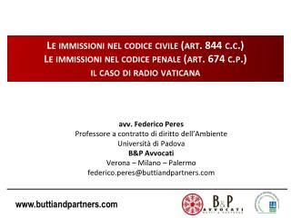 avv. Federico Peres Professore a contratto di diritto dell�Ambiente  Universit� di Padova