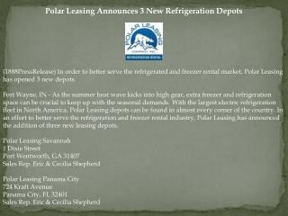 Polar Leasing Announces 3 New Refrigeration Depots