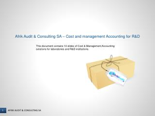 Afrik Audit & Consulting SA � Cost and management Accounting for R&D