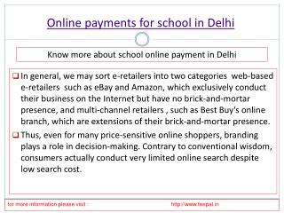 More information about online payment for school in Delhi